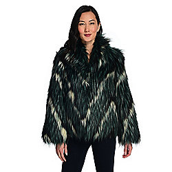 mōd x Chevron Faux Fur Pointed Collar 3-Pocket Hook Front Coat