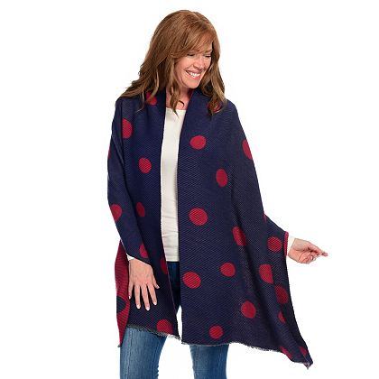 743-784 Laundry by Design Woven Pleated Polka Dot Blanket Wrap