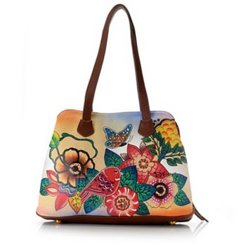 Handbag Clearance - 743-972 Sharif Hand-Painted Leather Multi Compartment Satchel w Pouch - 743-972