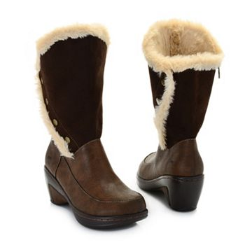 Cozy Coats & More Sale Up to 60% Off - 744-358 JBU by Jambu Camille Faux Fur Lined Side Zip Wedge Mid-Calf Boots - 744-358