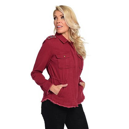 Lowest Prices Ever New Items Added Daily 744-543 Indigo Thread Co.™ 100% Cotton Pointed Collar Bead Detailed Utility Jacket