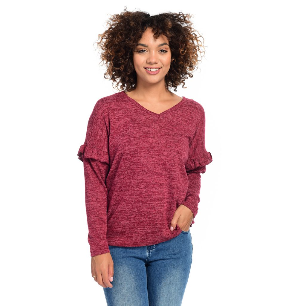 OSO Casuals®, Hacci Sweater Knit Long Ruffle Sleeve Drop Shoulder V Neck Top