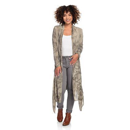 744-677 - Indigo Thread Co.™ Knit Tie-Dye Shawl Collar Lace Accented Duster Cardigan