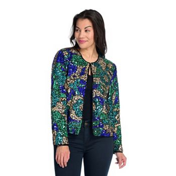 Blazers & Jackets - 744-735 Indigo Moon Woven Sequin & Bead Embellished Long Sleeve Open Front Jacket - 744-735