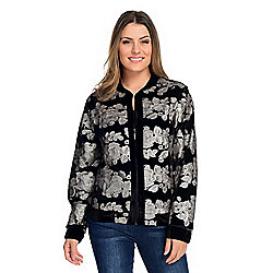 Indigo Moon Velvet Long Sleeve Zip-up Sequined Bomber Jacket