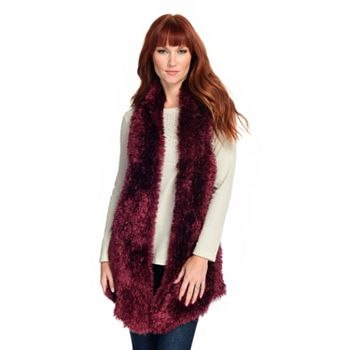 Great Gifts Under $30 744-885 One World Eyelash Yarn & Cable Knit Open Front Vest - 744-885
