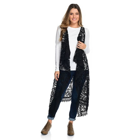 Lowest Prices Ever New Items Added Daily - 744-969 Indigo Thread Co.™ Crochet Lace Cascade Collar Open Front Pointed Hem Duster Vest