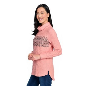 Valentine's Day Style Hearts, Pinks & Reds - 745-032 OSO Casuals® Knit Long Sleeve Embroidered Hi-Lo Turtleneck Sweater - 745-032