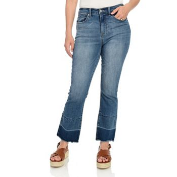 745-040 Indigo Thread Co.™ Stretch Denim 5-Pocket Raw Edge Flared & Cropped Jeans - 745-040