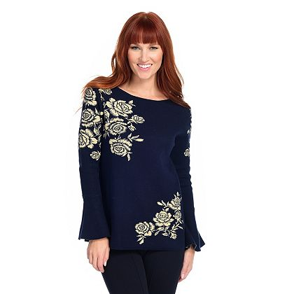 Lowest Prices Ever New Items Added Daily - 745-083 Gramercy 22™ Patterned Knit Bell Sleeve Scoop Neck Sweater