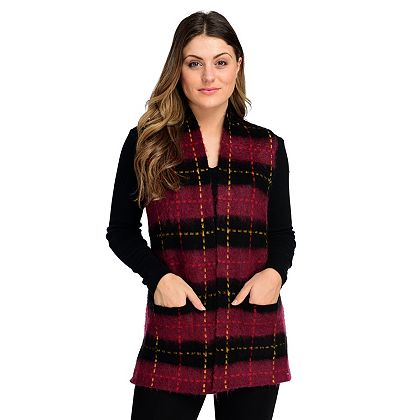 Lowest Prices Ever New Items Added Daily -  745-200 Gramercy 22™ Brushed Knit Open Front 2-Pocket Plaid Vest