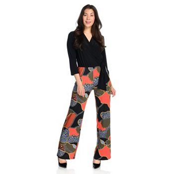 Kate & Mallory Sale & Clearance - 745-205 Kate & Mallory® Solid & Printed Knit 34 Sleeve Surplice Neck Wide Leg Jumpsuit - 745-205