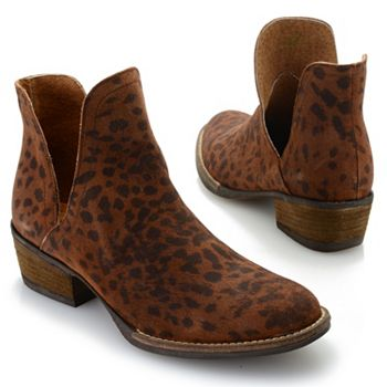 Footwear Sale & Clearance -745-517 Corkys Girl Depo Animal Printed Suede Leather Ankle Boots - 745-517