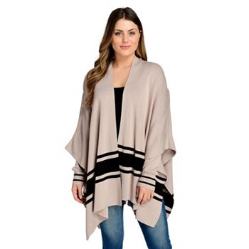 2020 Fall Trend - Comfy Cozy Loungeable Looks - 745-711 Elan Sweater Knit Long Sleeve Border Striped Poncho Cardigan - 745-711
