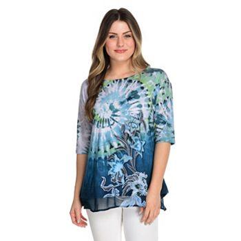 Fashion Steals New Summer Markdowns 745-738 One World Printed Slub Knit & Chiffon Elbow Sleeve Layered Hem Top - 745-738