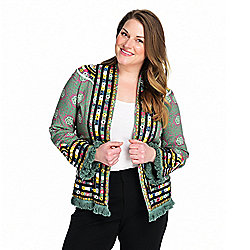 Indigo Moon Patterned Woven Mirror, Embroidery & Bead Detailed Fringe Jacket