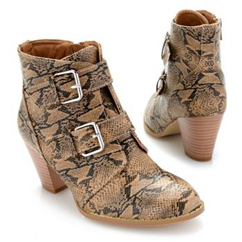 Boot Sale Up to 55% off - 746-443 Matisse Helga Snake Printed Buckle Detailed Ankle Boots - 746-443