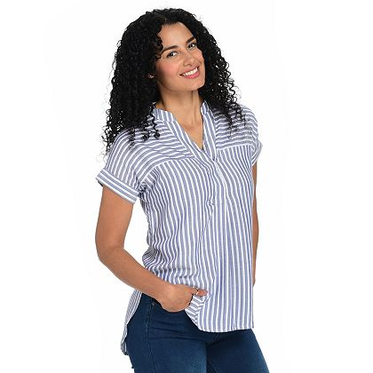 Fashion Talk With Fatima 746-728 OSO Casuals® Striped Woven Short Sleeve Collarless Y-Neck Shirt