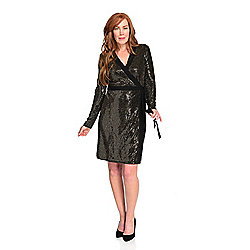 Leota Sequined Knit Long Sleeve Tie-Waist Kara Wrap Dress