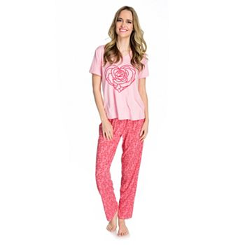 Deals Over 50% Off Stock Up On Savings 746-856 Everyday Koze by Harve Benard Knit Short Sleeve V-Neck Top & Pants Pajama Set - 746-856