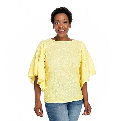 Wake Up in Style Shop w Erin Twice a Week 746-959 Indigo Thread Co.™ Woven Ruffled Lantern Sleeve Scoop Neck Top