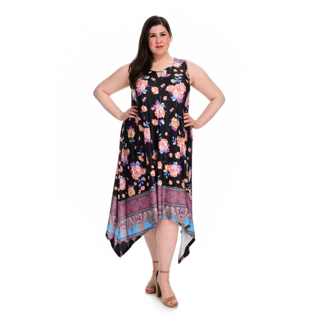 NEW M S Kate /& Mallory® Stretch Knit Sleeveless Empire Waist Hi-Lo Dress