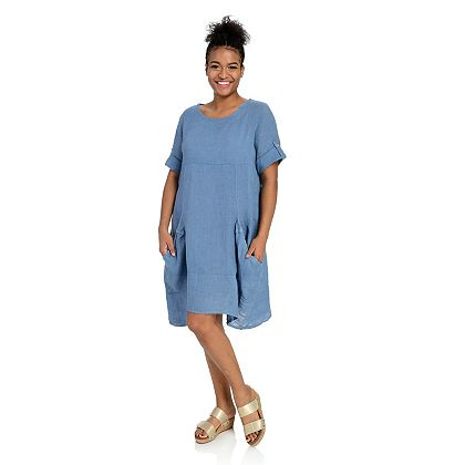 Today's Special Deals Check Out Our Amazing Prices - 747-178 OSO Casuals® Roll Tab Sleeve Scoop Neck Deep Pocket Dress