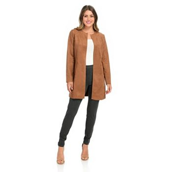 Blazers & Jackets feature  747-234 Gramercy 22™ Faux Suede Long Sleeve Open Front Raw Edge Jacket - 747-234