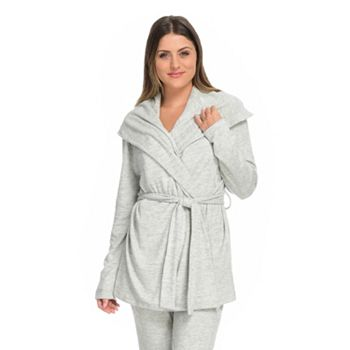 Loungewear Cute & Cozy Looks UP TO 30% OFF -  747-602 Heather's Closet Brushed Knit Long Sleeve Shawl Collar Tie-Front Wrap - 747-602
