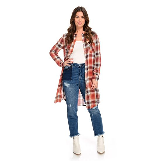 Wake Up in Style Tips & Top Trends - 749-556 Indigo Thread Co.™ Woven Plaid Long Sleeve Button Front 2-Pocket Duster