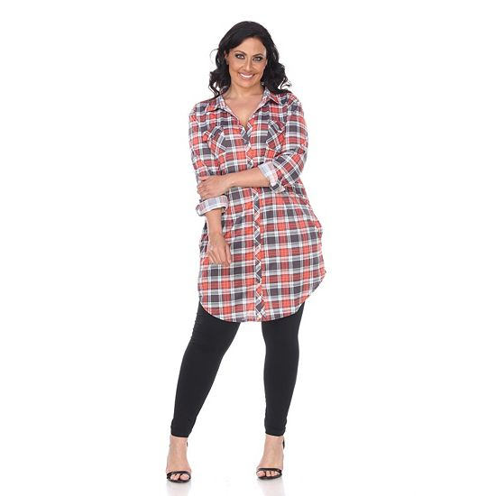Web Exclusive Finds Items You Won't See On TV - 749-837 White Mark Plaid Printed Roll Tab Sleeve Button Front Tunic