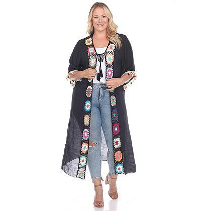 Daily Digital Deals Shop Hundreds Of Web Exclusives - 749-839 White Mark's 34 Kimono Sleeve Crochet Detailed Tie-Front Kimono