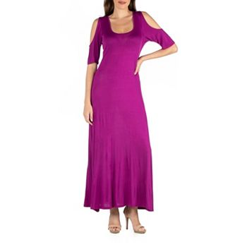 750-512 24seven Comfort Apparel Short Sleeve Cold Shoulder Maxi Dress - 750-512