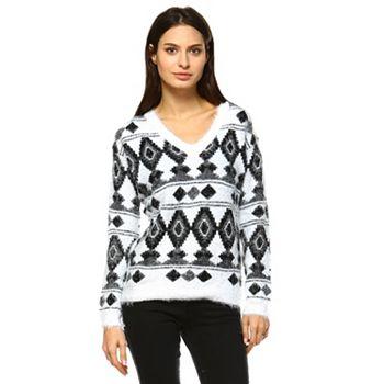 Tops Under $20 Stock Up on Savings - 750-796 White Mark Fluffy Argyle Patterned Sweater - 750-796