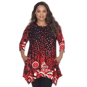 New Arrivals Get it Home First - 750-821 White Mark Dotty Printed 34 Sleeve Pleated Front Sharkbite Tunic Top - 750-821