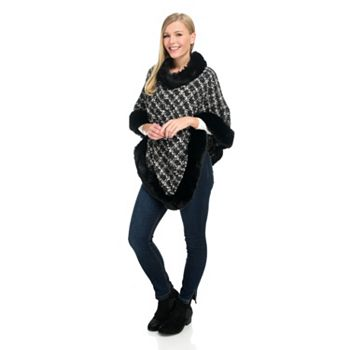 New Arrivals Flaunt it First - 750-852 Laundry by Shelli Segal Chenille Boucle Faux Fur Trimmed Poncho - 750-852