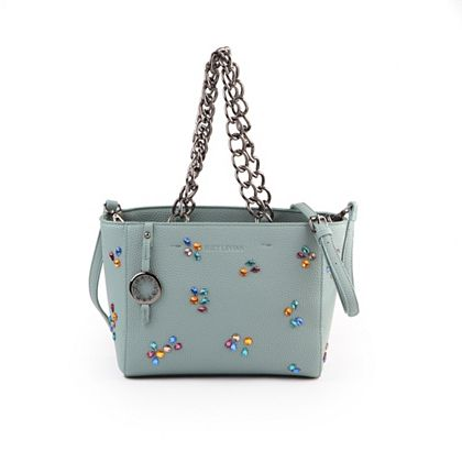Web Exclusive Finds Deals You Won't See on TV - 750-879 Suzy Levian Pebbled Faux Leather Rhinestone Satchel Handbag