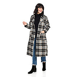 Indigo Thread Co.™ Plaid Patterned Boiled Wool Notch Collar Oversized Coat