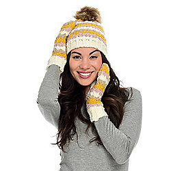 Laundry by Shelli Segal Scallop Striped Beanie & Mitten Set