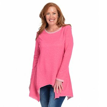 New Arrivals Get It Home First - 751-561 OSO Casuals® Loop Terry Knit Long Sleeve Crew Neck Sharkbite Tunic - 751-561