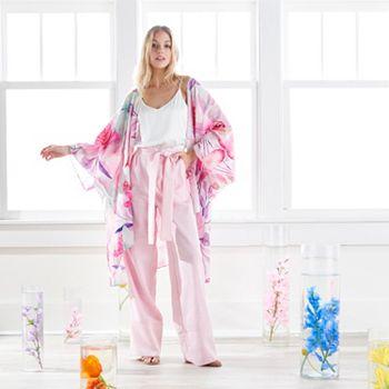 751-755 Kate & Mallory® 100% Cotton Printed Woven Lightweight Kimono - 751-755