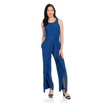 752-429 Kate & Mallory® Woven Sleeveless Tie-Waist Wide Leg Jumpsuit - 752-429