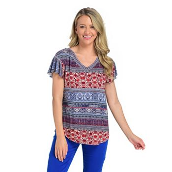One World Tune in at 1pm ET - 752-660 One World Printed Stripe Short Flutter Sleeve V-Neck Top - 752-660