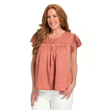 752-661 Farmers Market by One World Eyelet Mixed Knit Notch Neck Top - 752-661