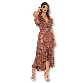 Web Exclusives  Ft. Our Hottest Selling Brands - 753-303 AX Paris Women's Rust Polka Dot Wrap Midi Dress wD-Ring Belt - 753-303