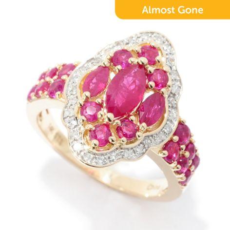 Gem Treasures 14K Gold 2 41ctw Burmese Ruby & Diamond Marquise Ring