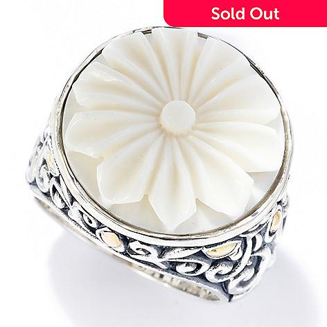 Artisan Silver By Samuel B 18k Gold Accent Carved Flower Bone Ring Shophq