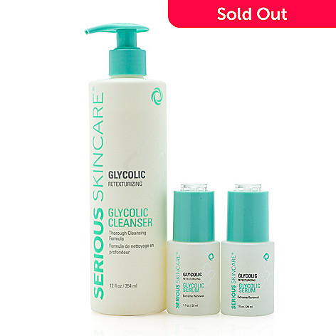 Serious Skincare 3x Size Glycolic Cleanser W Bonus Double Glycolic Serums Shophq
