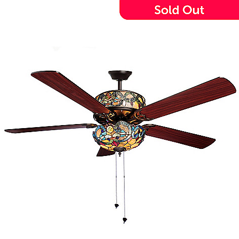 Tiffany Style 52 Corrista Double Lit Stained Glass Ceiling Fan Shophq