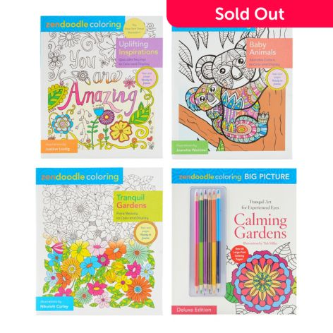 - Zendoodle Set Of Four Coloring Books W/ Six Two-Sided Colored Pencils -  ShopHQ